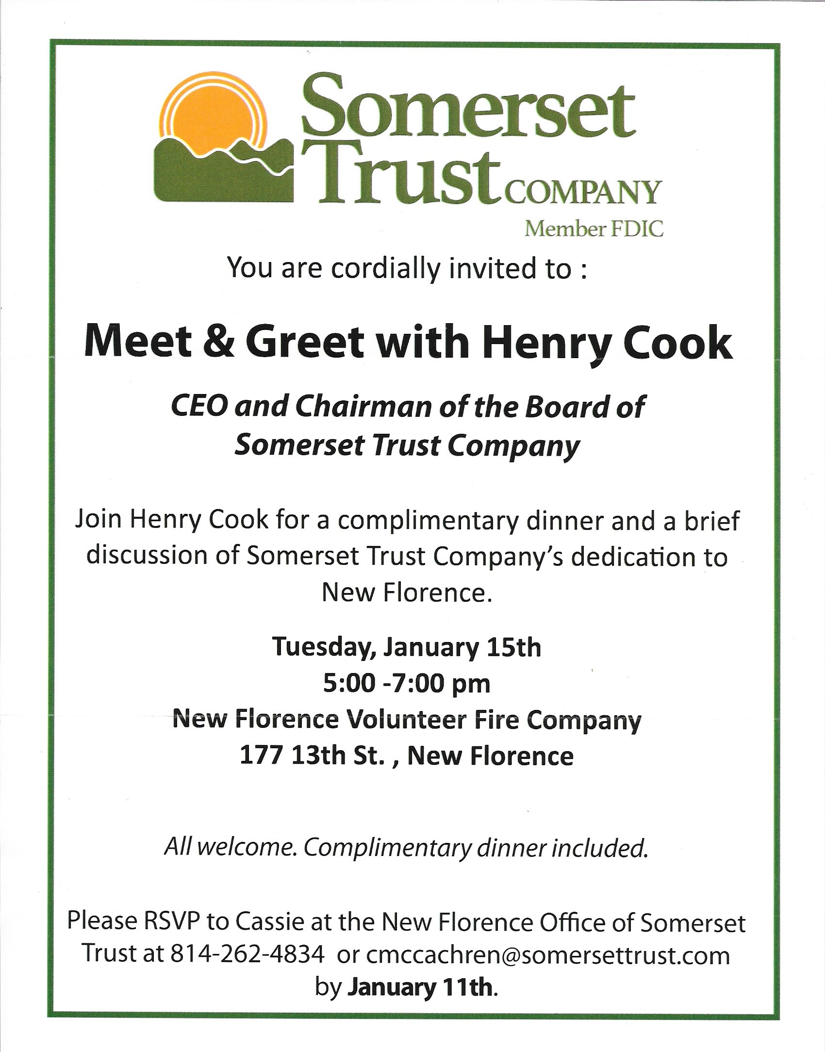 Somerset Trust Meet and Greet with CEO – New Florence Borough
